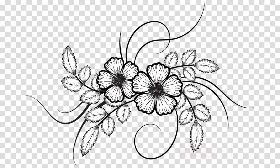 Black And White Flower Clipart Drawing Sketch Flower Transparent Clip Art