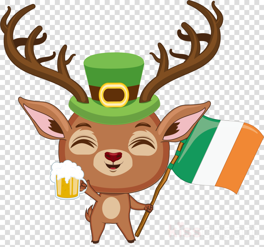 st patricks day deer with irish flag clipart Reindeer