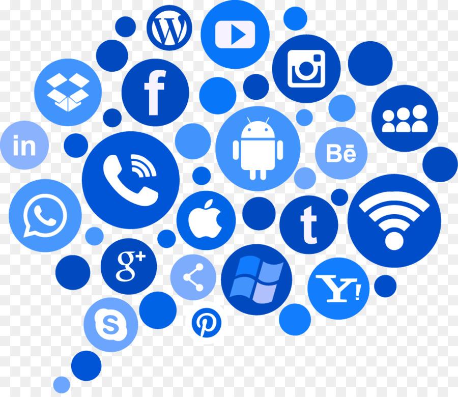 蓝色图标社交媒体剪纸艺术社交媒体营销电脑图标