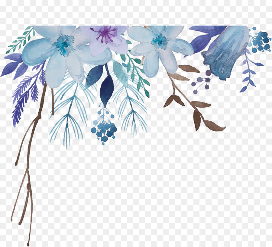 blue watercolor flowers background clipart Watercolor: Flowers Watercolor painting