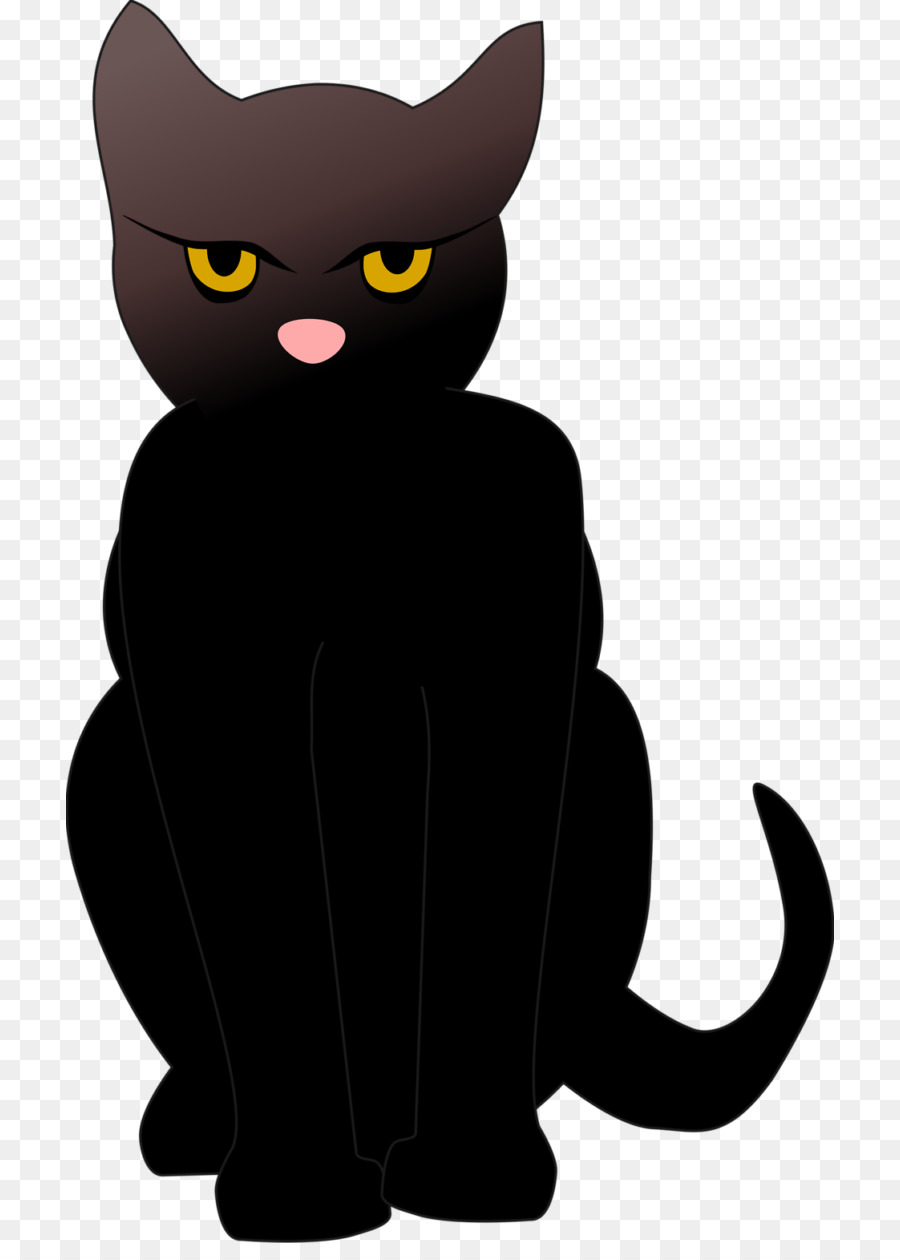 cartoon black cat transparent clipart Abyssinian cat Kitten Egyptian Mau