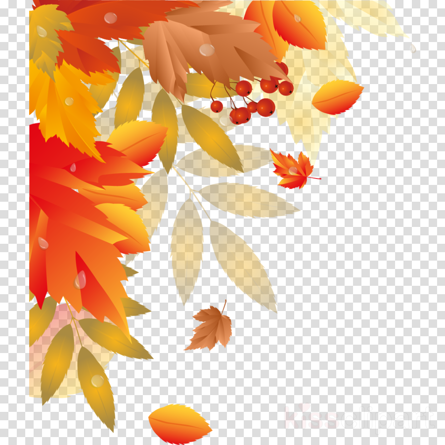 Fall leaves corner. Autumn pattern background clipart