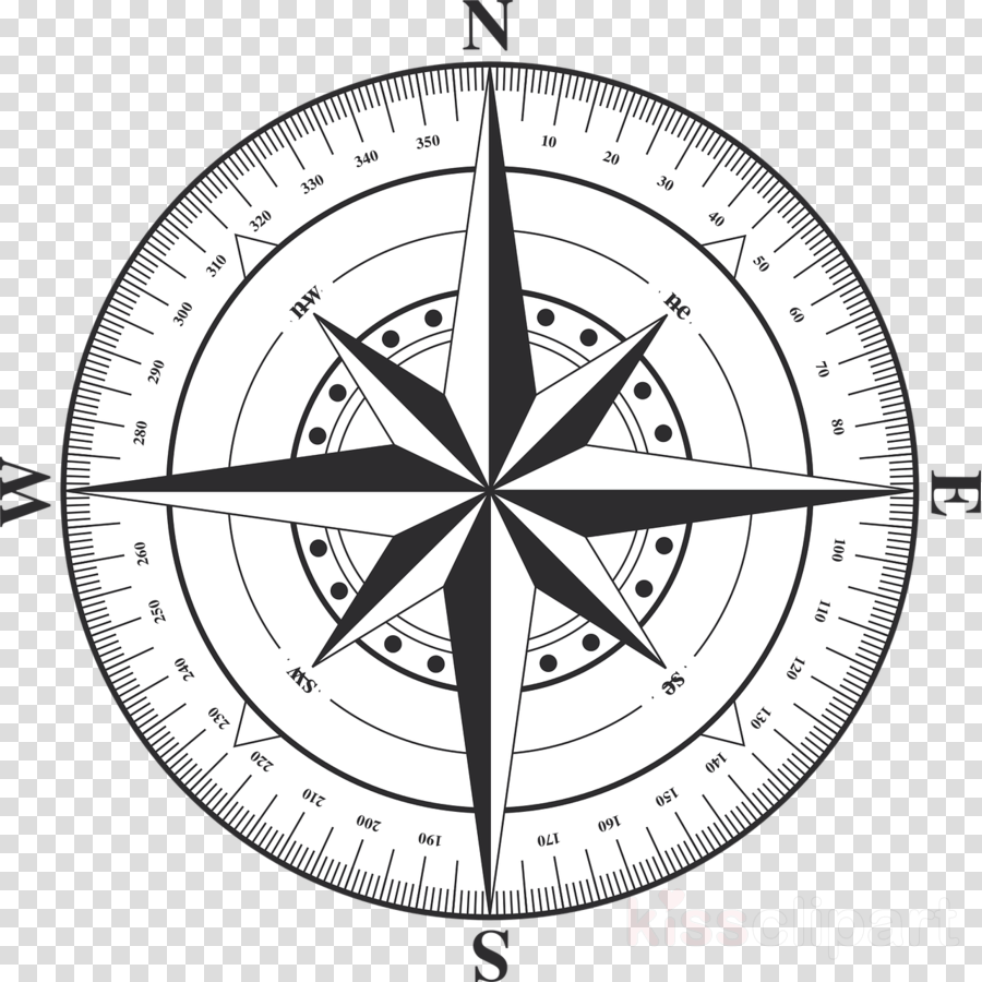 Compass transparent background. Rose black and white