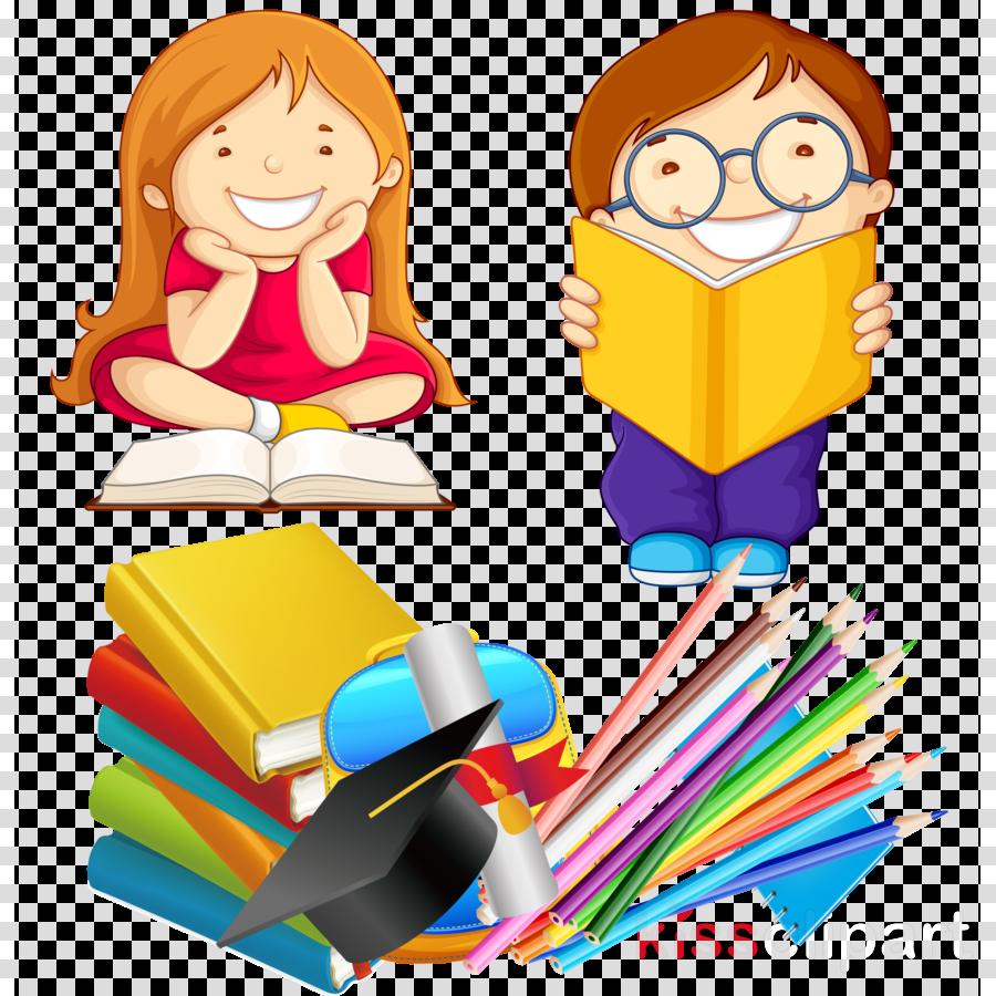 Happy book. Child reading clipart illustration