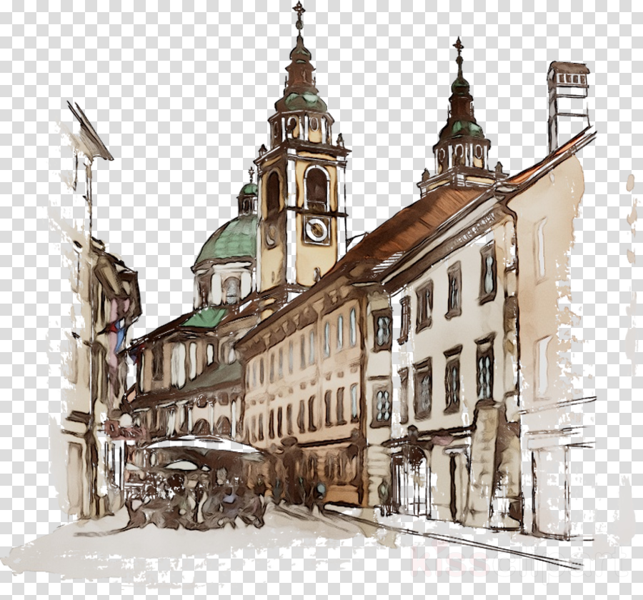 Watercolor Sketch Clipart Wall Sketch Architecture Transparent Clip Art