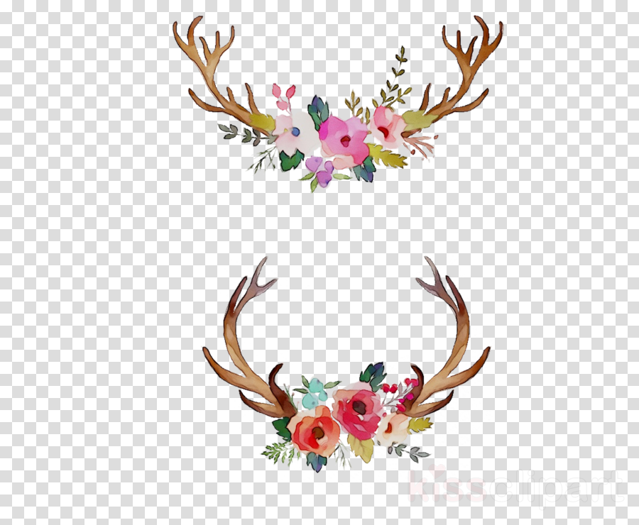 watercolor antlers and flowers clipart Watercolor painting Antler Floral design