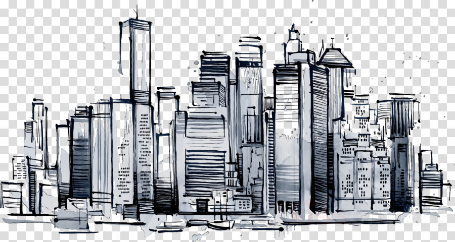 City Skyline Clipart Skyline Drawing Illustration Transparent Clip Art