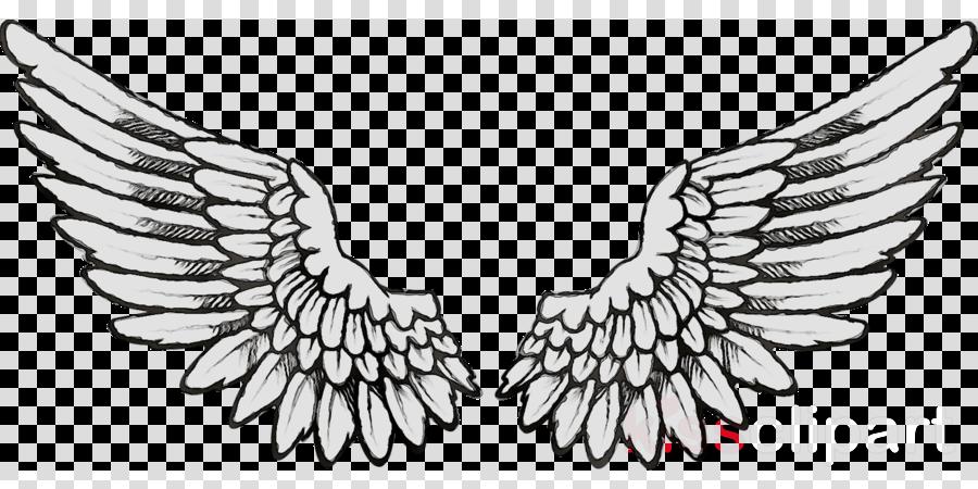 Bird Line Drawing Clipart Drawing Tattoo Angel Transparent Clip Art