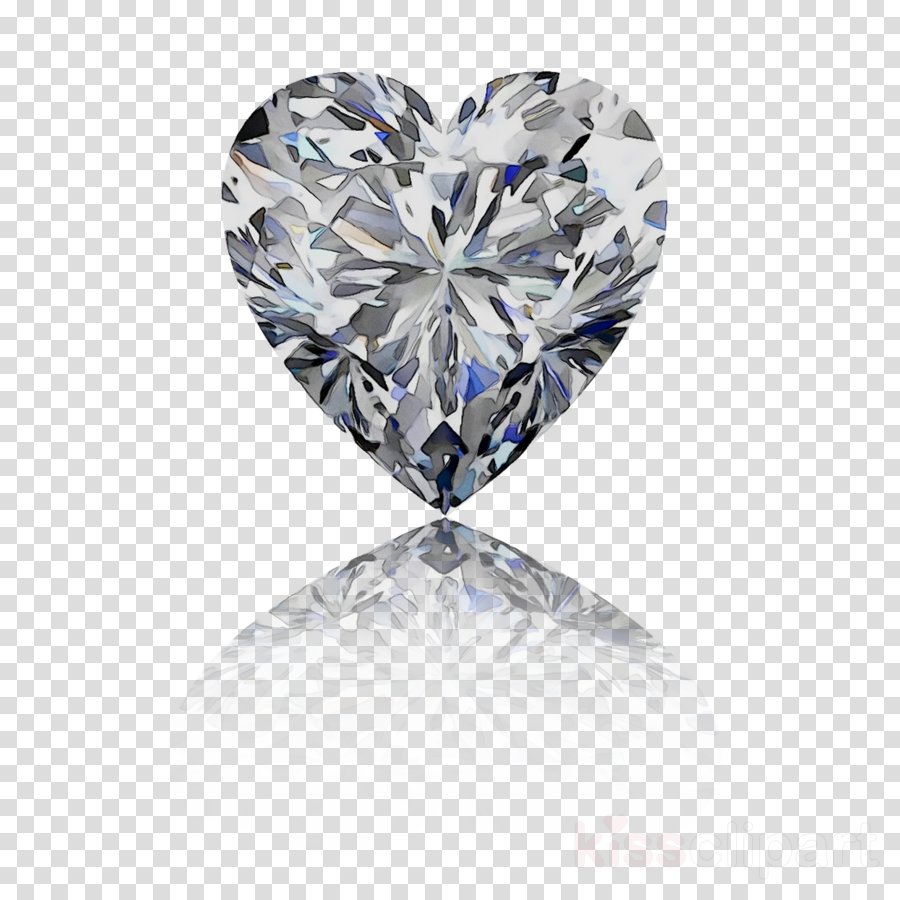 Diamond heart. Engagement clipart blue transparent