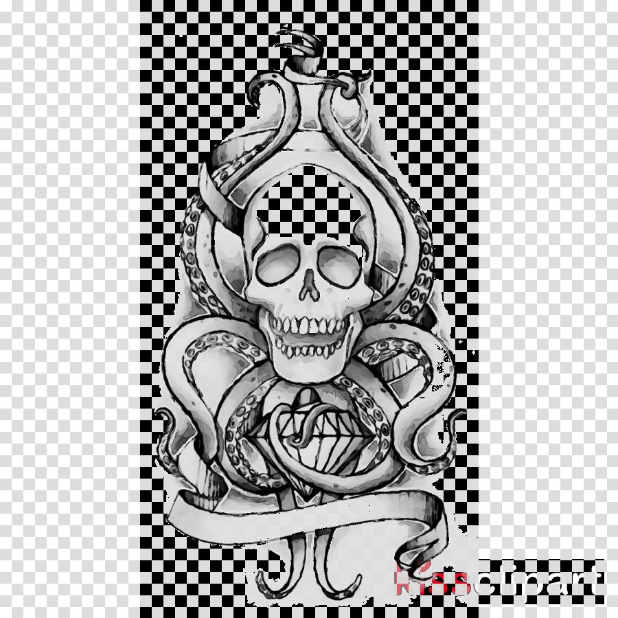 Skull Sketch Clipart Skull Octopus Illustration Transparent Clip Art