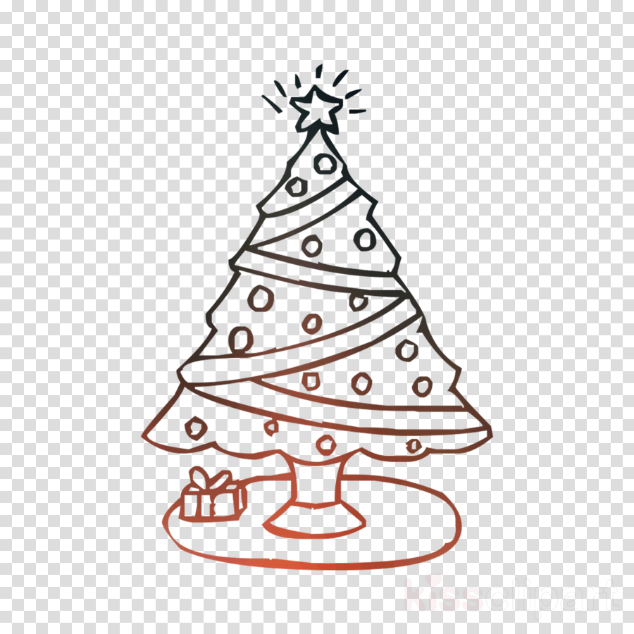 Christmas Tree Line Drawing Clipart Drawing Tree Christmas Transparent Clip Art