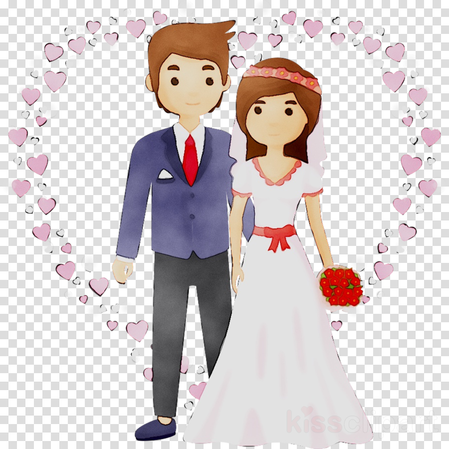 Bride And Groom Cartoon Clipart Wedding Anniversary Love Transparent Clip Art