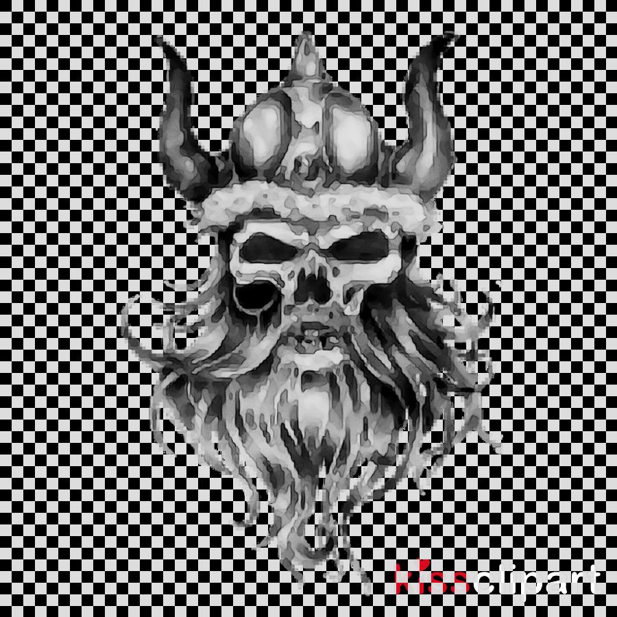 Skull Sketch Clipart Head Beard Illustration Transparent Clip Art