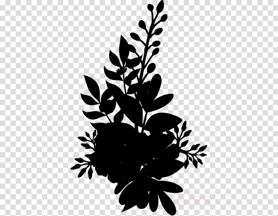 Black & White - M Leaf Floral design Petal
