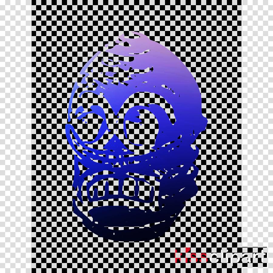 Skull Cobalt blue Font Headgear