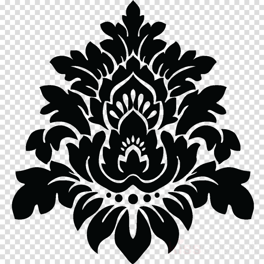 Pattern Floral design Wall decal Black & White - M