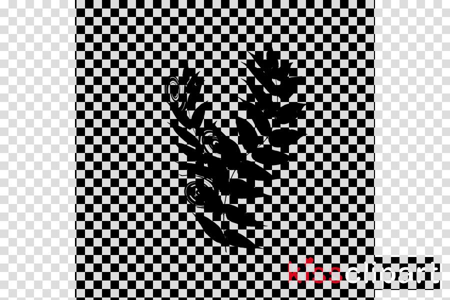Logo Black & White - M Font Leaf Silhouette