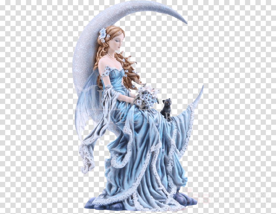 The Fairy with Turquoise Hair Moon Figurine Statue
