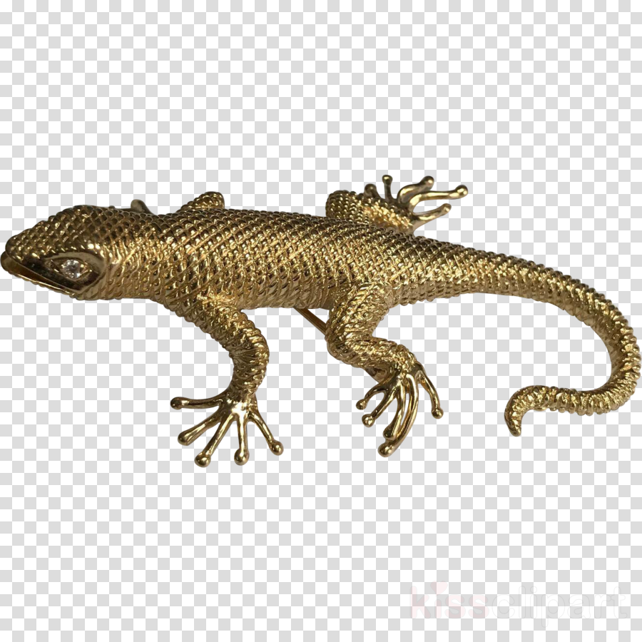Agamas Brooch Lizard Colored gold Jewellery