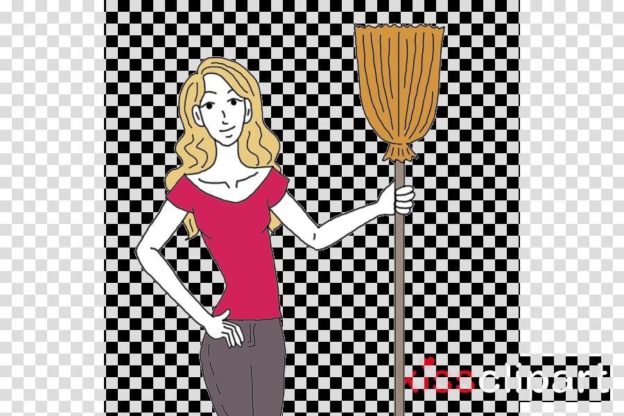 cartoon broom plant gesture