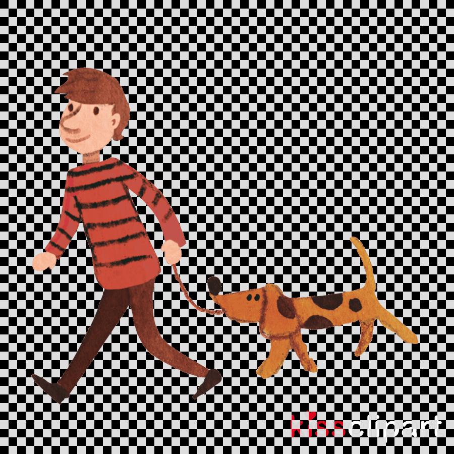 animal figure cartoon dog walking leash tail