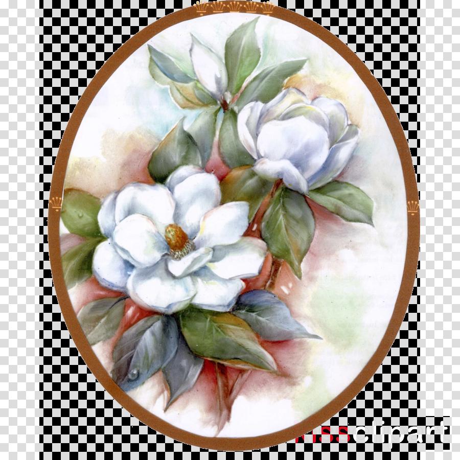 flower watercolor paint plant plate magnolia