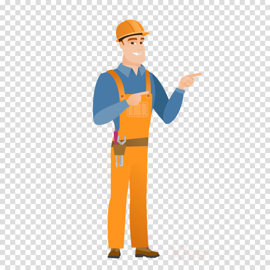cartoon construction worker standing workwear finger