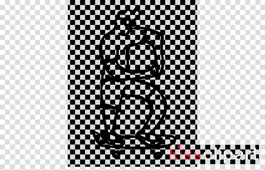 white line art standing black-and-white clip art