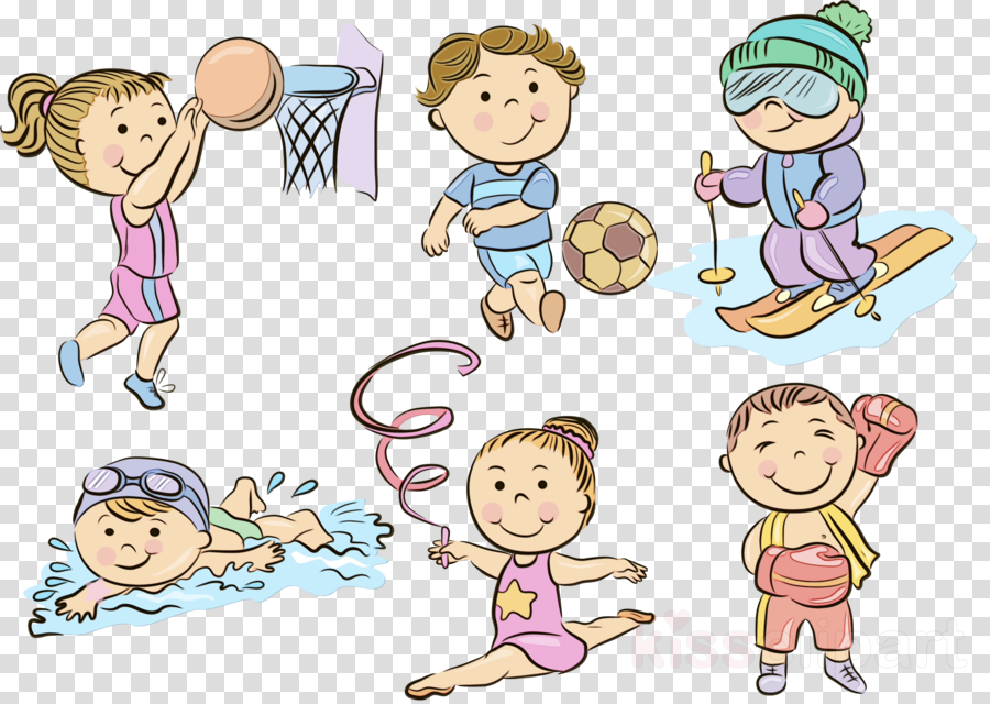 cartoon child clip art playing with kids sharing
