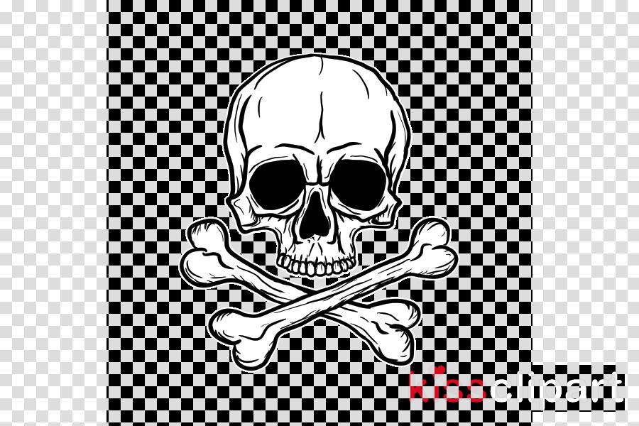 bone skull head sticker logo