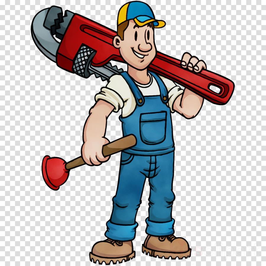 cartoon clip art construction worker solid swing+hit plumber