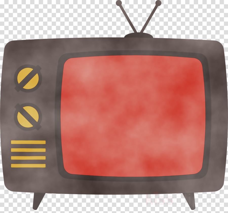 red television rectangle media television set