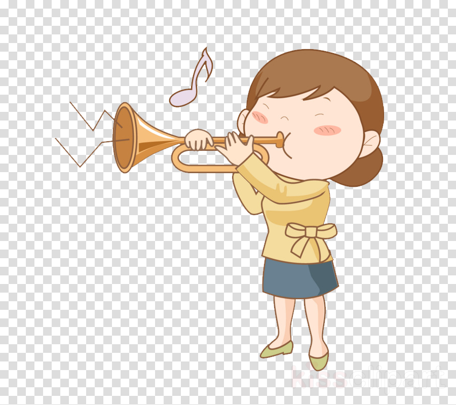 cartoon child trombone clip art trumpet