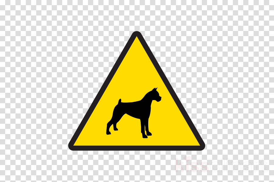 dog yellow traffic sign signage triangle