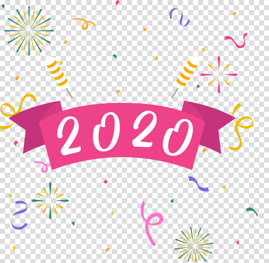 Happy New Year Clipart 2020.2020 Happy New Year 2020 Happy New Year Clipart Text Line