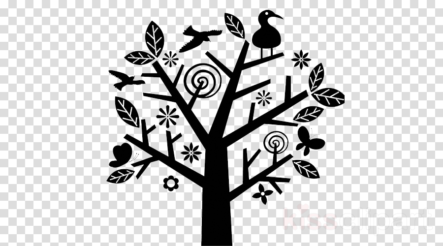 branch tree plant stencil black-and-white