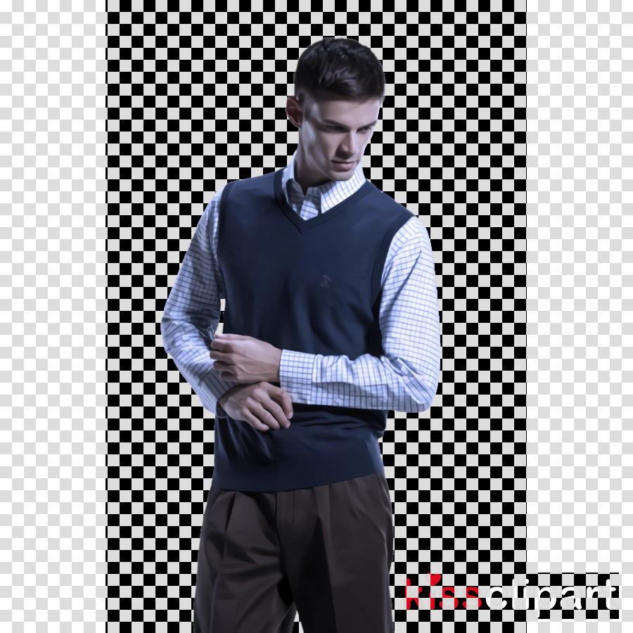 clothing blue suit collar sweater vest