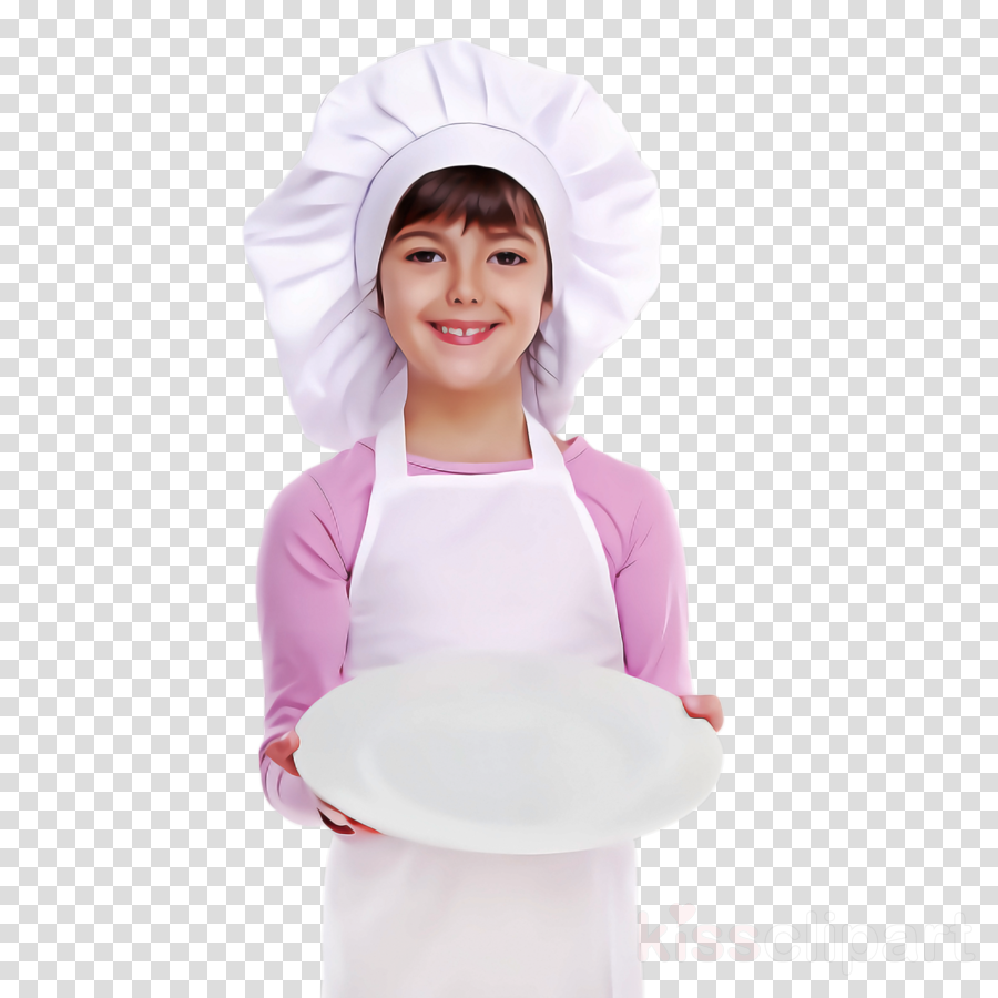 white clothing pink child cook