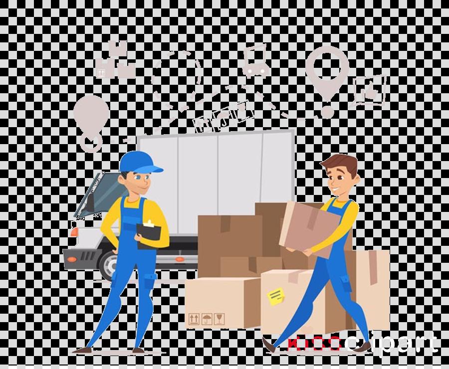 cartoon construction worker job package delivery warehouseman