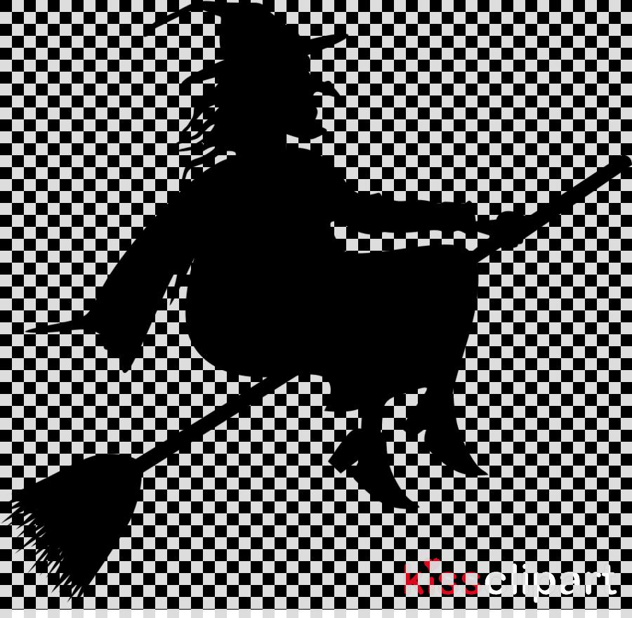 broom cartoon silhouette black-and-white