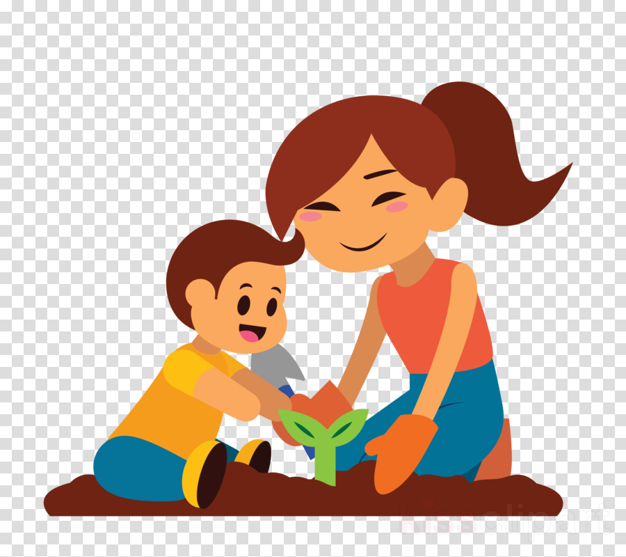 cartoon child male sharing mother