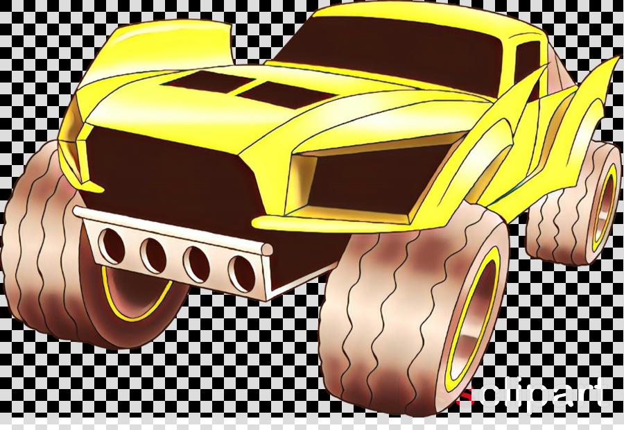 monster truck yellow vehicle motorsport cartoon