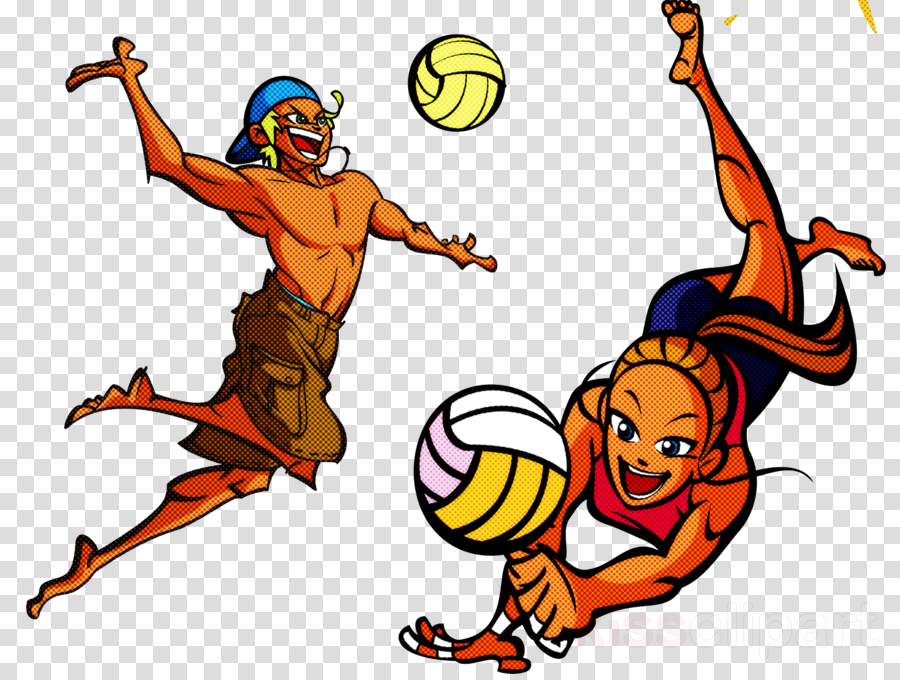 cartoon volleyball player playing sports basketball player celebrating