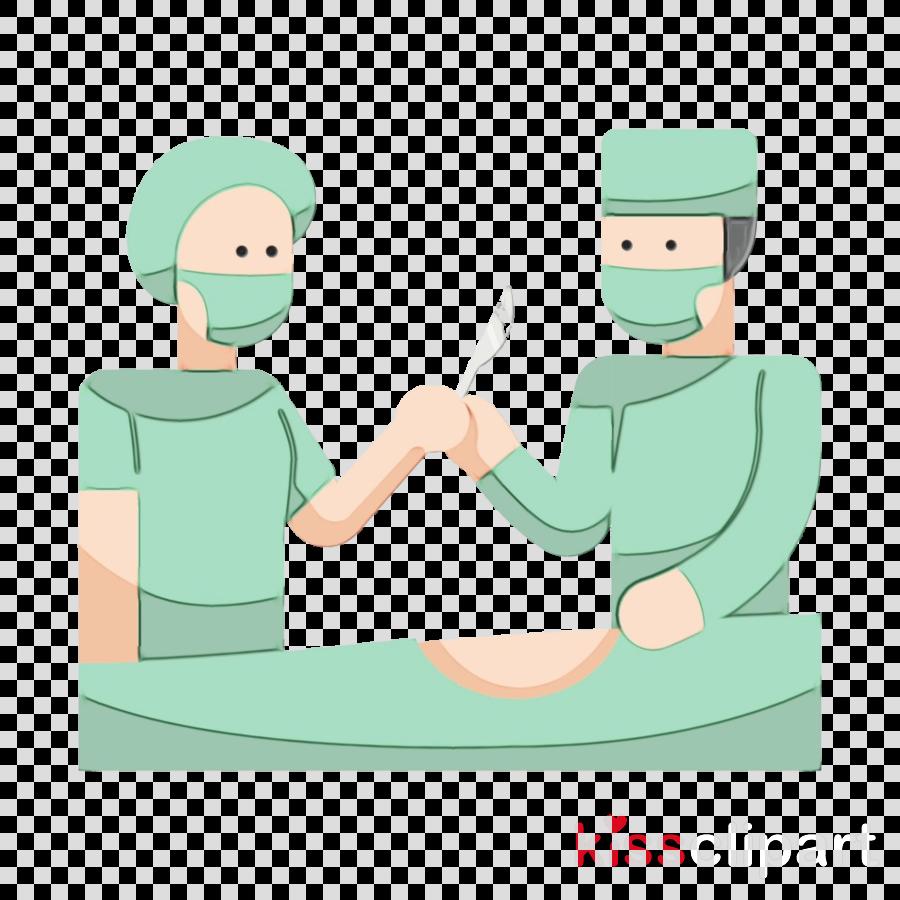 cartoon surgeon gesture medical equipment finger