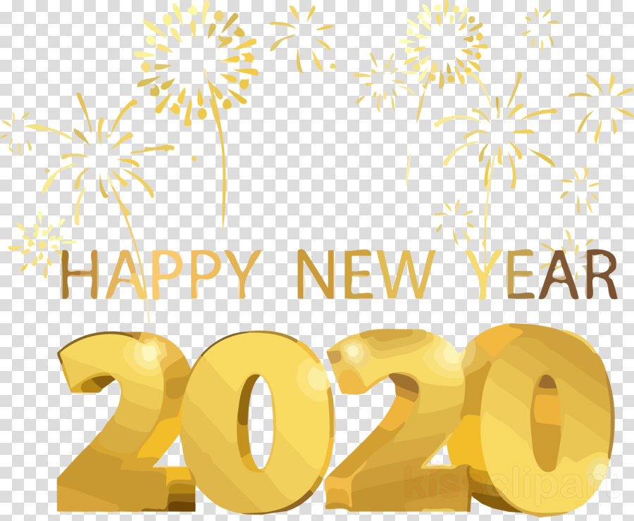 Happy New Year 2020 New Years 2020 2020 Clipart Text Yellow Transparent Clip Art