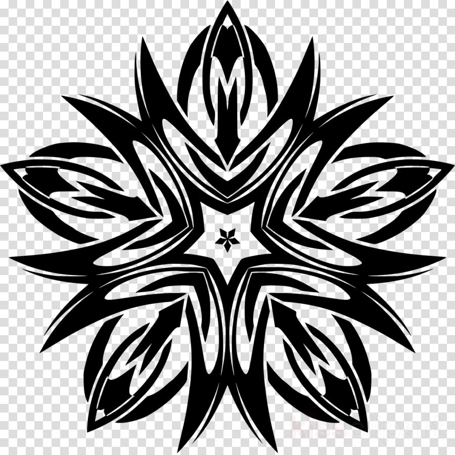 black-and-white leaf symmetry tattoo pattern