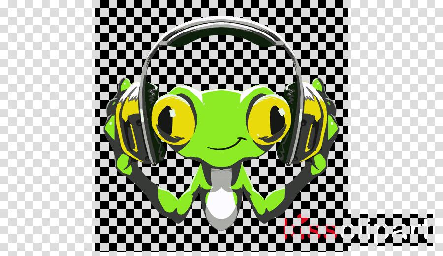 green headphones audio equipment yellow cartoon