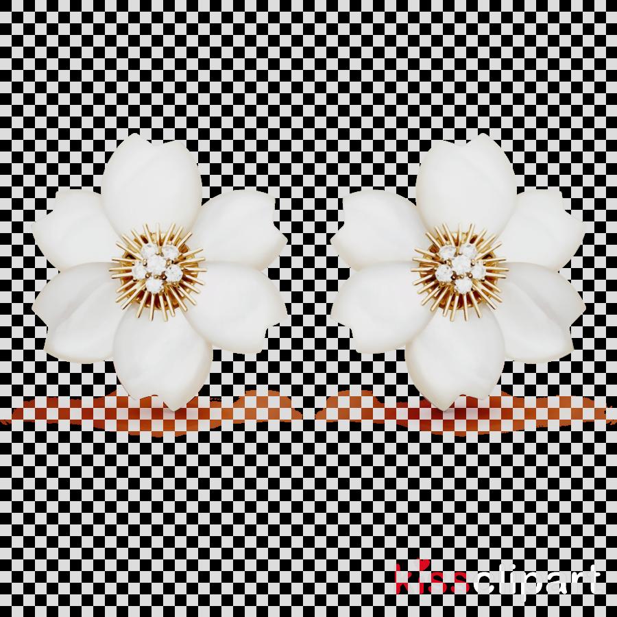 white earrings petal flower jewellery