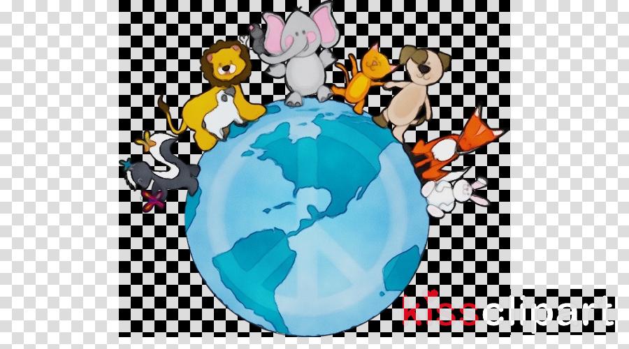 cartoon globe world earth