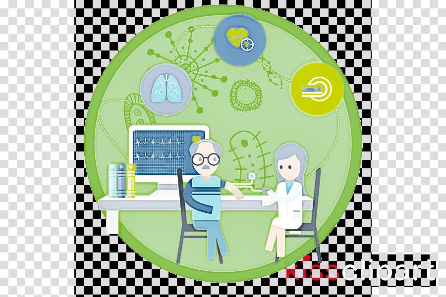 green cartoon sharing circle
